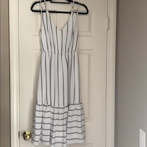 VICI White and Navy Pin Stripe Small Dress